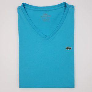 Lacoste V Neck Tee Shirt Size 6 Blue Pima Cotton M